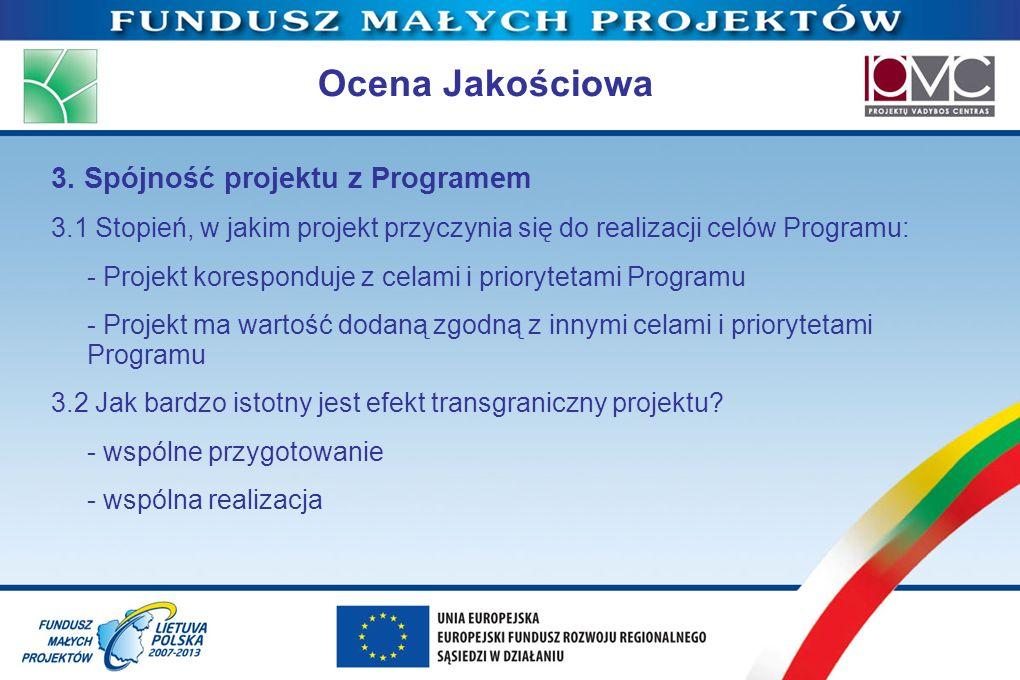 Ocena Jakościowa 3. Spójność projektu z Programem
