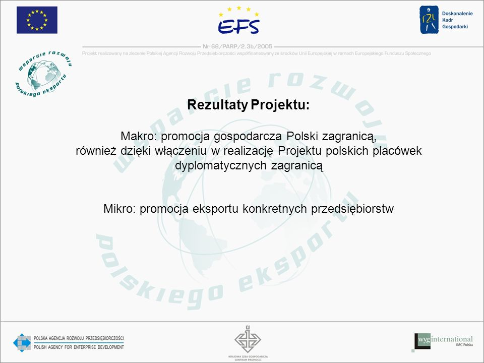 Rezultaty Projektu: Makro: promocja gospodarcza Polski zagranicą,