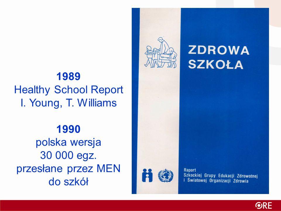 1989Healthy School Report. I. Young, T. Williams. 1990. polska wersja. 30 000 egz. przesłane przez MEN.