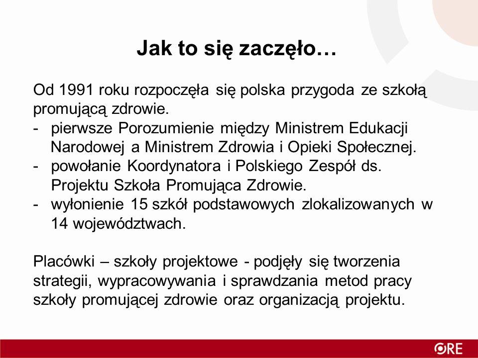 Jak to się zaczęło… Od 1991 roku rozpoczęła się polska przygoda ze szkołą promującą zdrowie. pierwsze Porozumienie między Ministrem Edukacji.