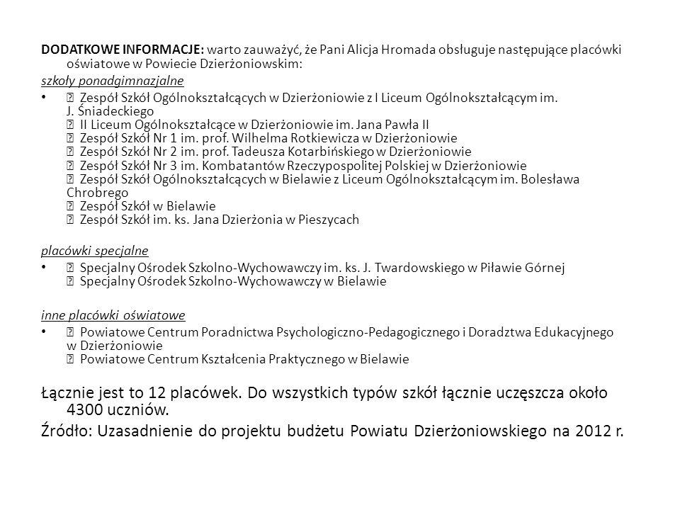 DODATKOWE INFORMACJE: warto zauważyć, że Pani Alicja Hromada obsługuje następujące placówki oświatowe w Powiecie Dzierżoniowskim:
