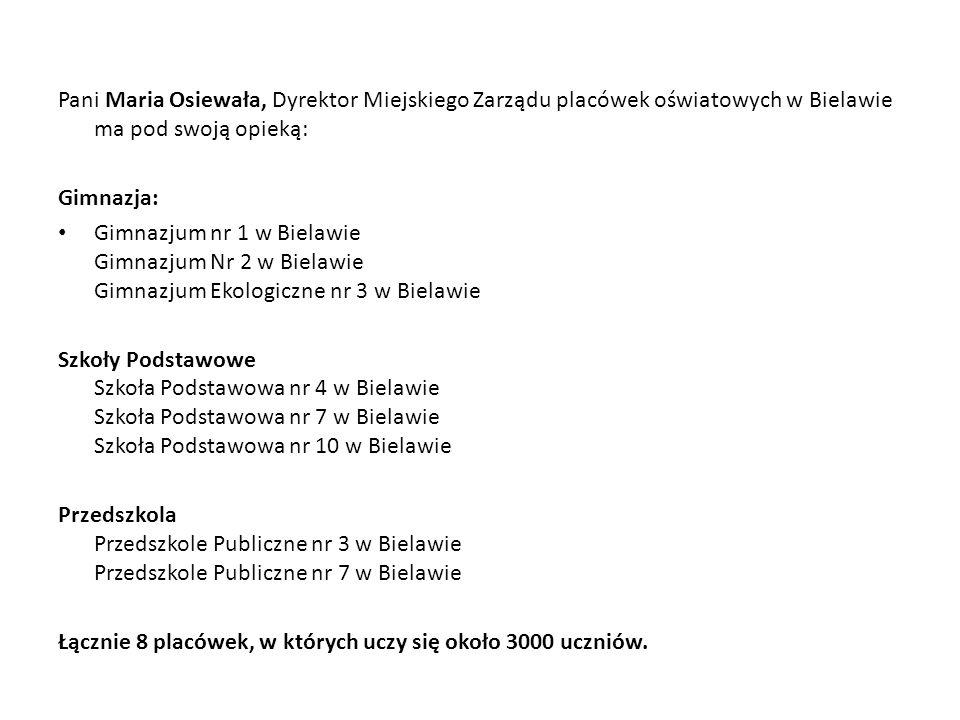 Pani Maria Osiewała, Dyrektor Miejskiego Zarządu placówek oświatowych w Bielawie ma pod swoją opieką: