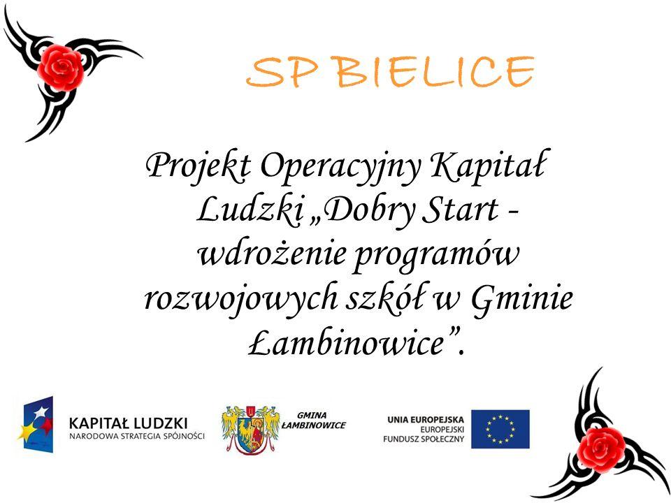"""SP BIELICE Projekt Operacyjny Kapitał Ludzki """"Dobry Start - wdrożenie programów rozwojowych szkół w Gminie Łambinowice ."""