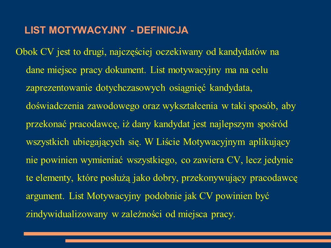 LIST MOTYWACYJNY - DEFINICJA