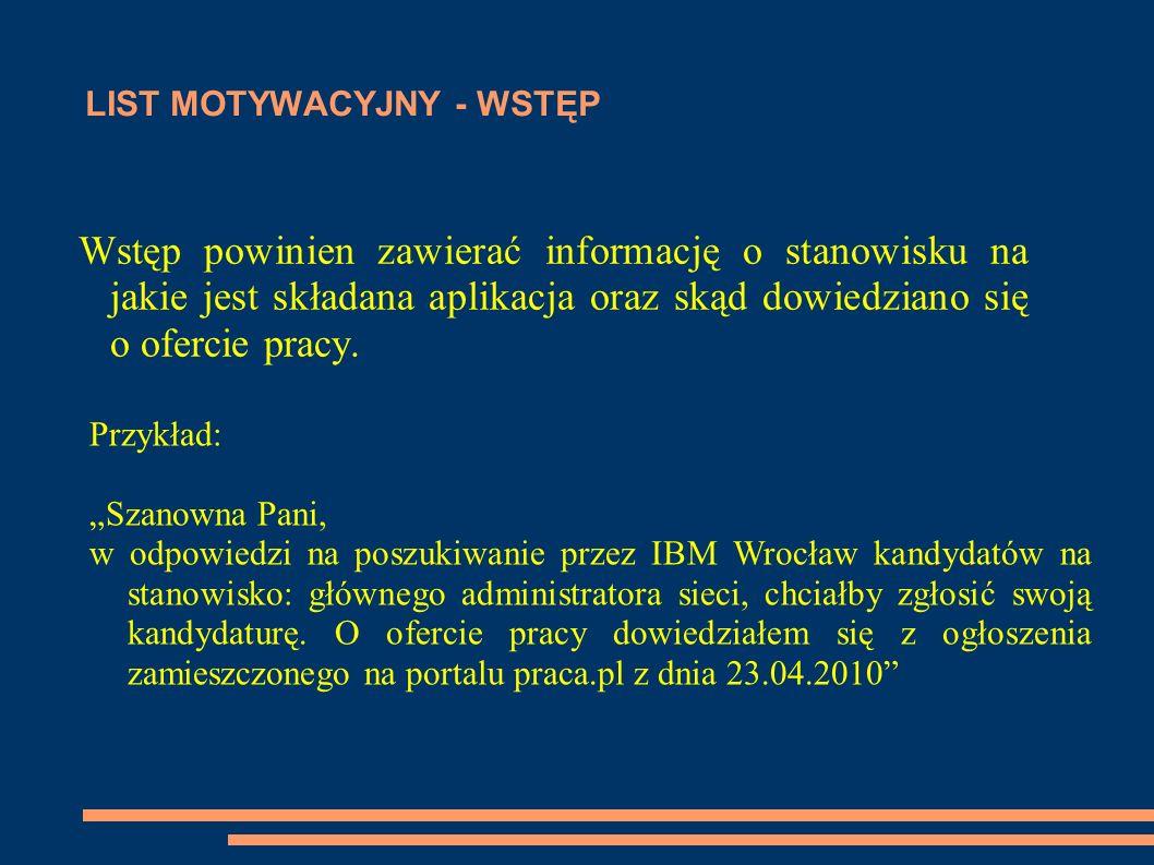 LIST MOTYWACYJNY - WSTĘP