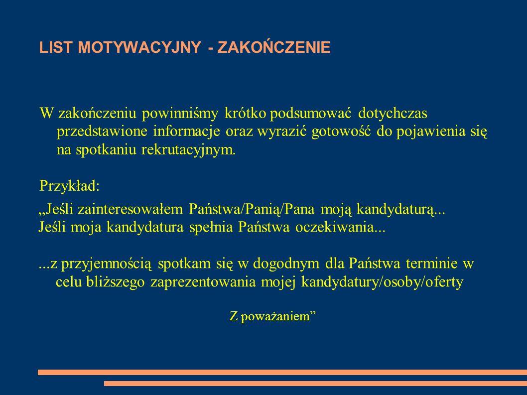 LIST MOTYWACYJNY - ZAKOŃCZENIE