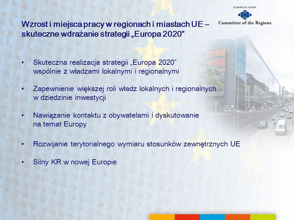 """Wzrost i miejsca pracy w regionach i miastach UE – skuteczne wdrażanie strategii """"Europa 2020"""