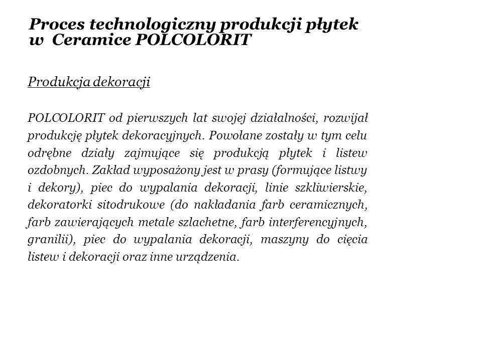 Proces technologiczny produkcji płytek w Ceramice POLCOLORIT