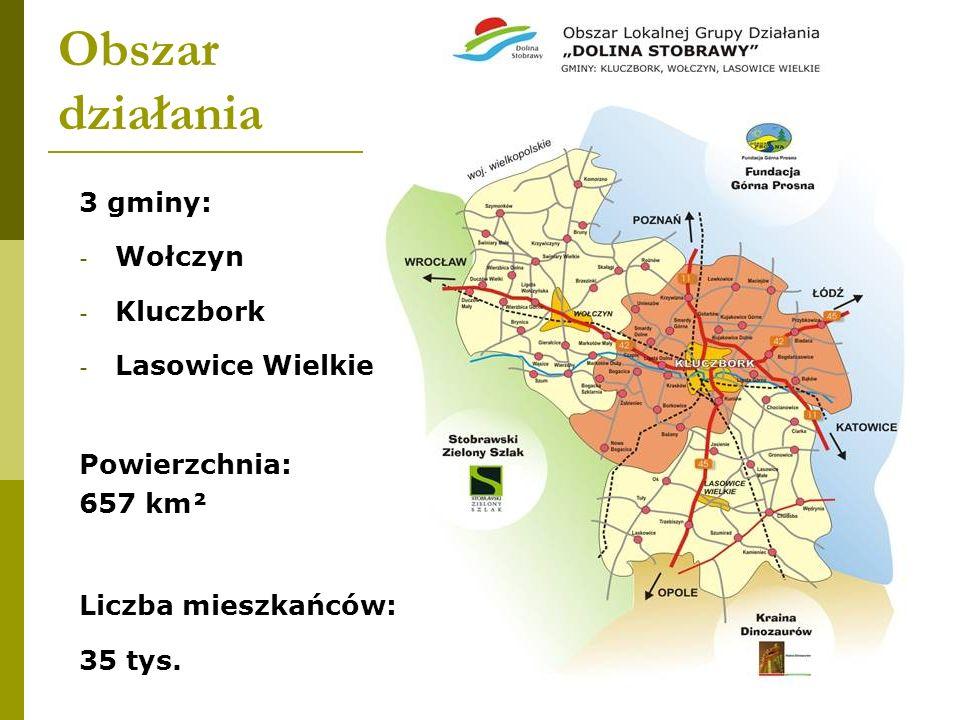 Obszar działania 3 gminy: Wołczyn Kluczbork Lasowice Wielkie