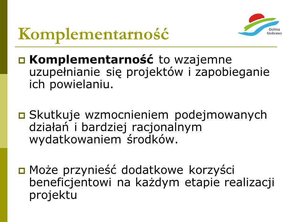 KomplementarnośćKomplementarność to wzajemne uzupełnianie się projektów i zapobieganie ich powielaniu.