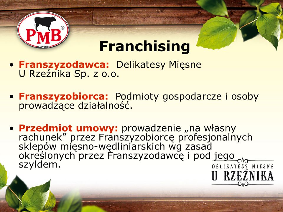 Franchising Franszyzodawca: Delikatesy Mięsne U Rzeźnika Sp. z o.o.