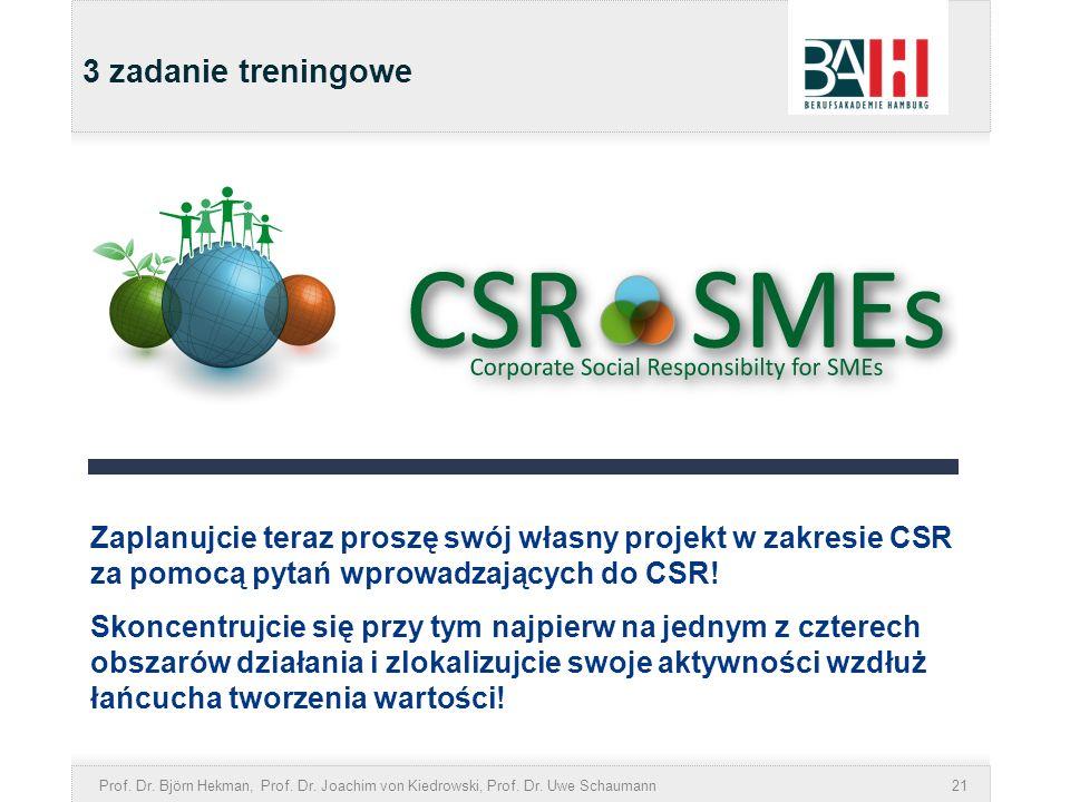 3 zadanie treningoweZaplanujcie teraz proszę swój własny projekt w zakresie CSR za pomocą pytań wprowadzających do CSR!