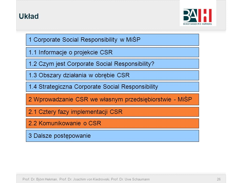 Układ 1 Corporate Social Responsibility w MiŚP