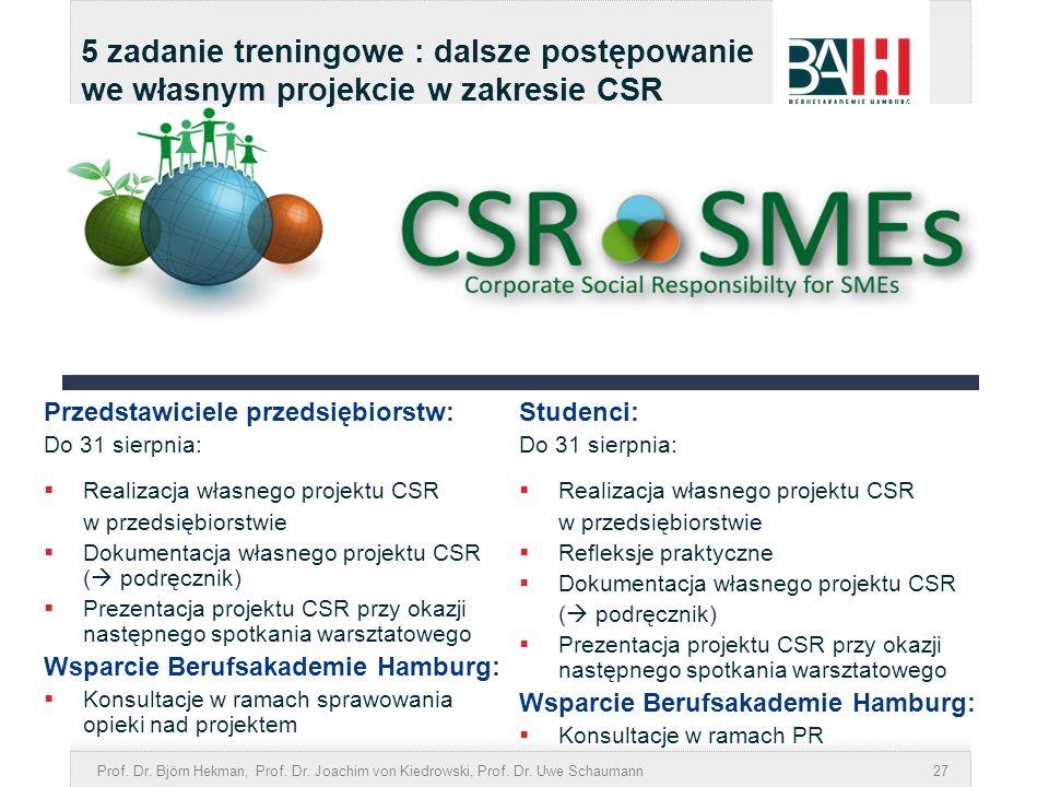 5 zadanie treningowe : dalsze postępowanie we własnym projekcie w zakresie CSR