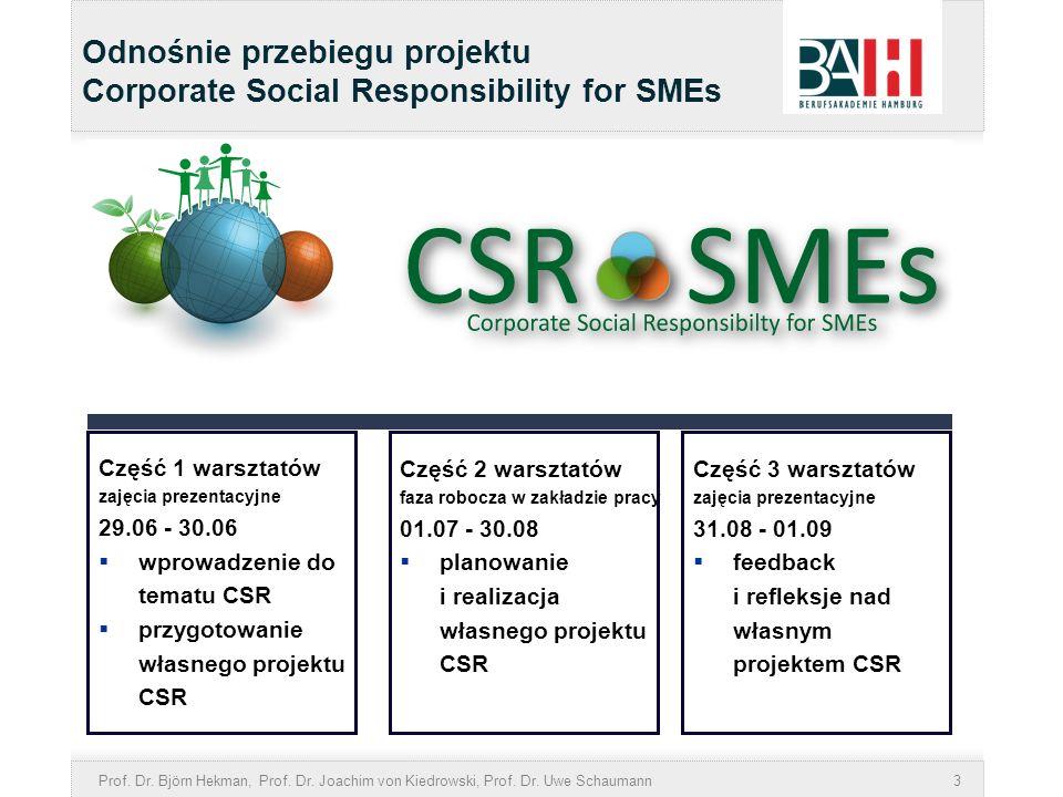 Odnośnie przebiegu projektu Corporate Social Responsibility for SMEs