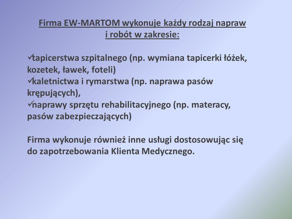 Firma EW-MARTOM wykonuje każdy rodzaj napraw i robót w zakresie:
