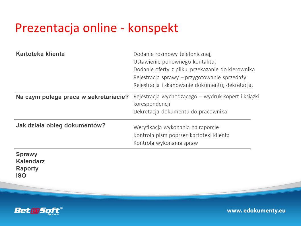 Prezentacja online - konspekt