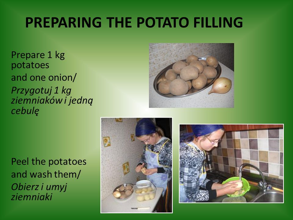 Preparing the potato filling