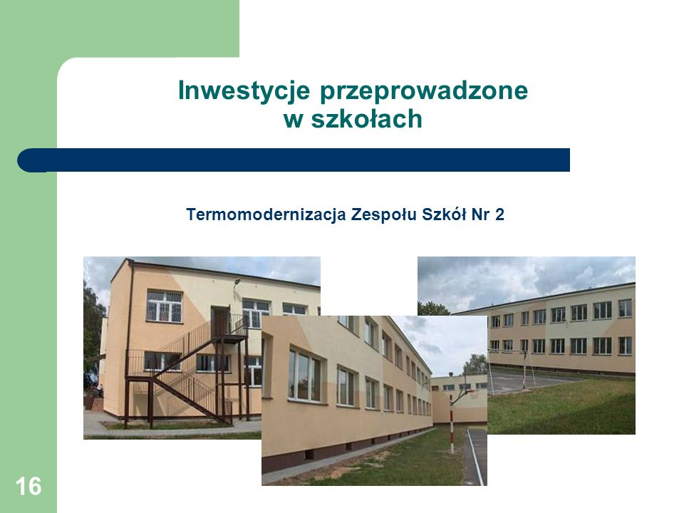 Inwestycje przeprowadzone w szkołach