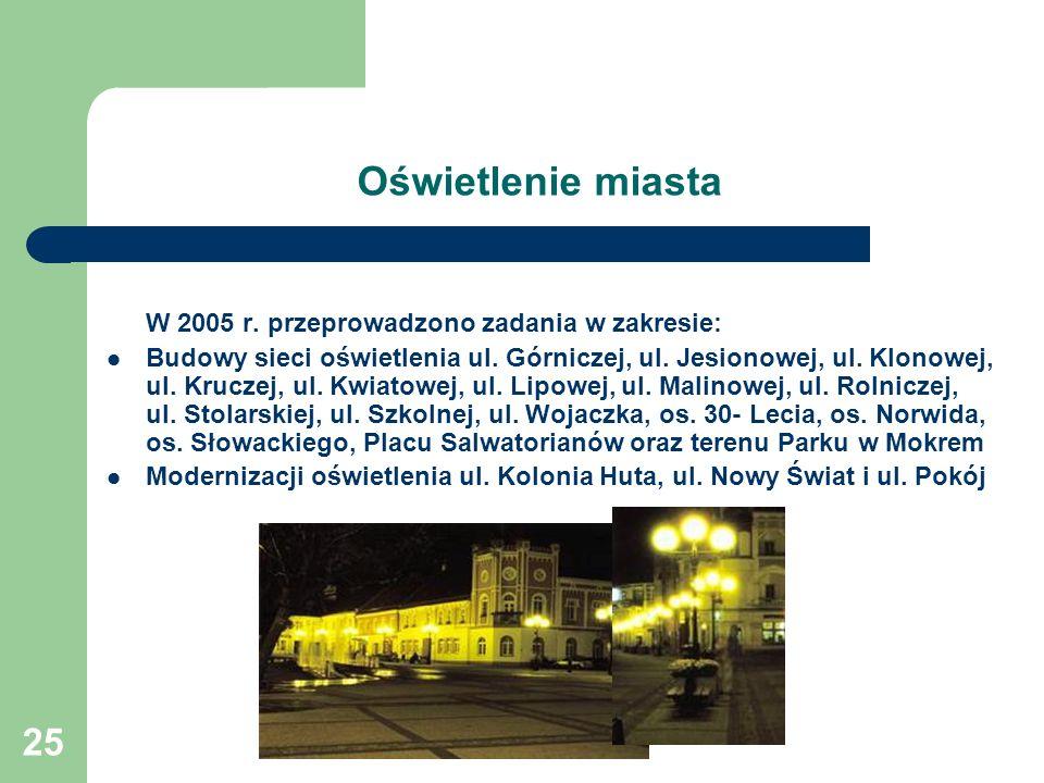 Oświetlenie miasta W 2005 r. przeprowadzono zadania w zakresie: