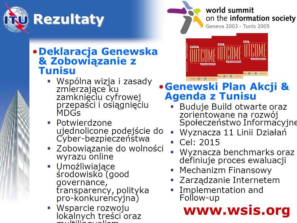Rezultaty www.wsis.org Deklaracja Genewska & Zobowiązanie z Tunisu