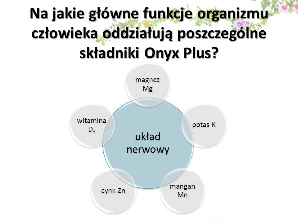 Na jakie główne funkcje organizmu człowieka oddziałują poszczególne składniki Onyx Plus
