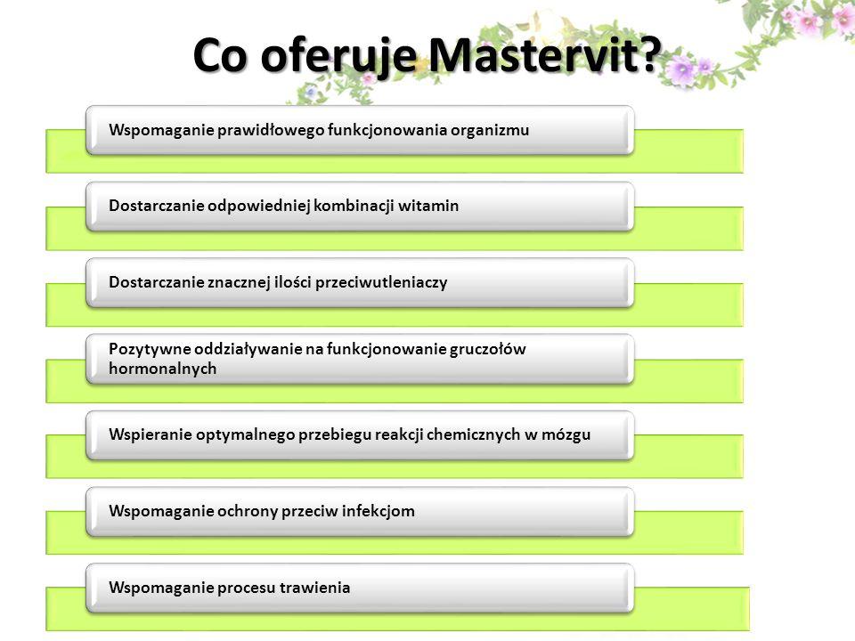 Co oferuje Mastervit Wspomaganie prawidłowego funkcjonowania organizmu. Dostarczanie odpowiedniej kombinacji witamin.