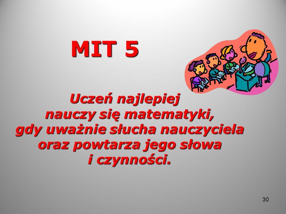 MIT 5Uczeń najlepiej nauczy się matematyki, gdy uważnie słucha nauczyciela oraz powtarza jego słowa i czynności.