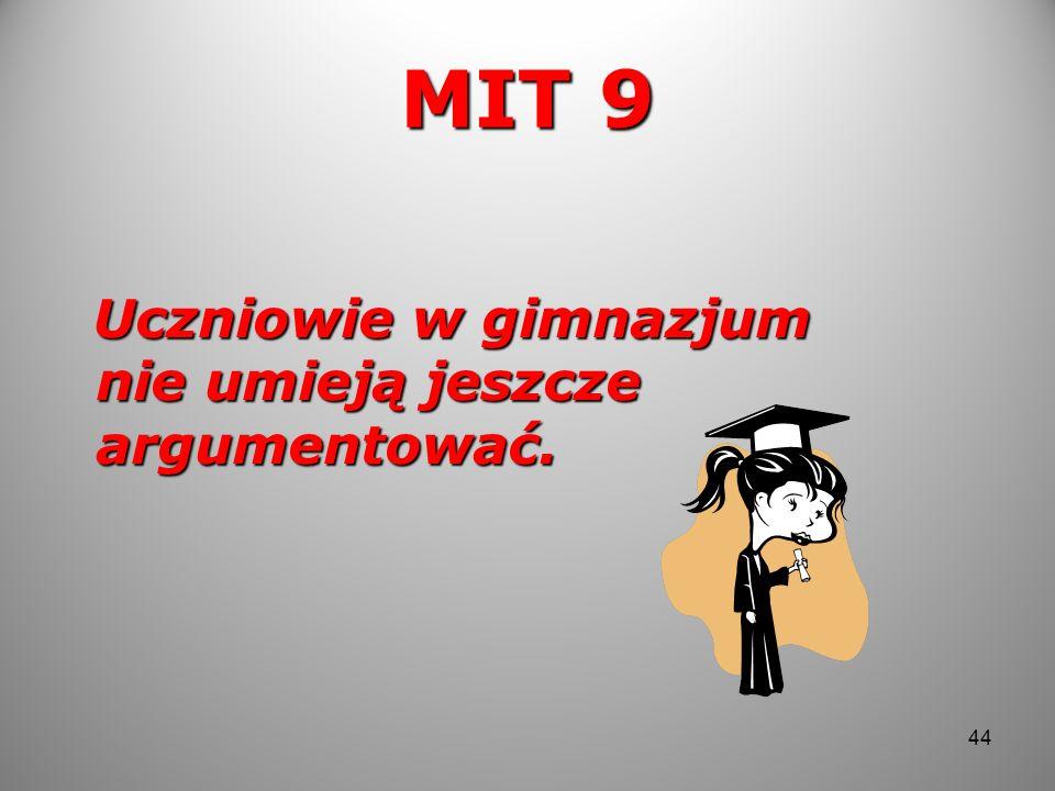 MIT 9 Uczniowie w gimnazjum nie umieją jeszcze argumentować.