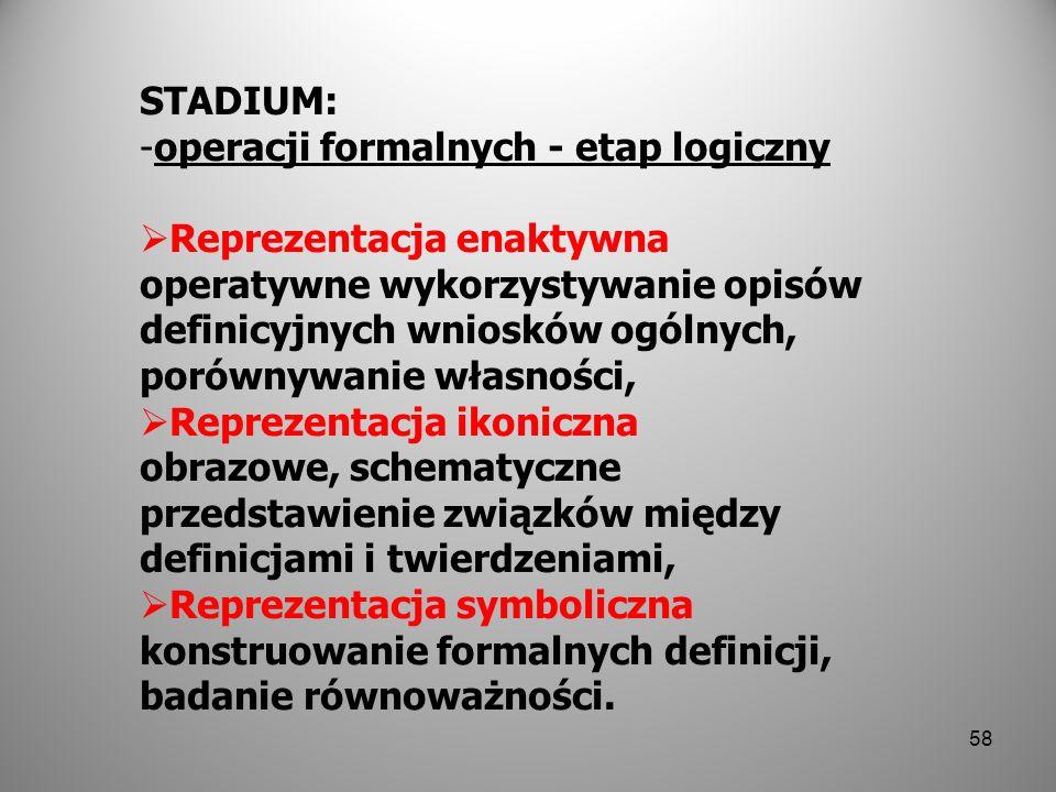 STADIUM: operacji formalnych - etap logiczny.