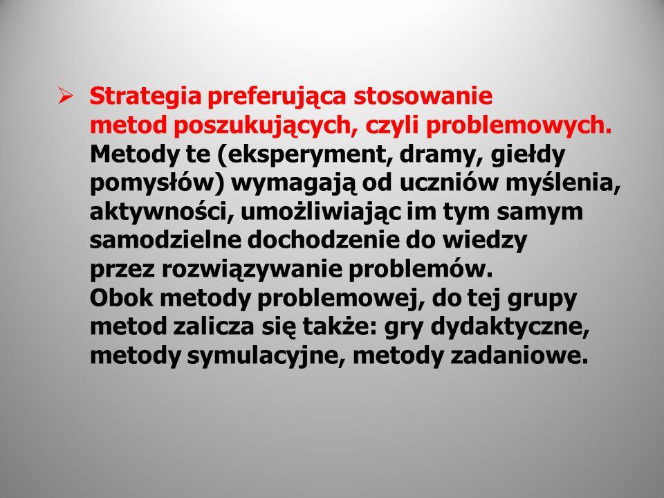 Strategia preferująca stosowanie metod poszukujących, czyli problemowych.