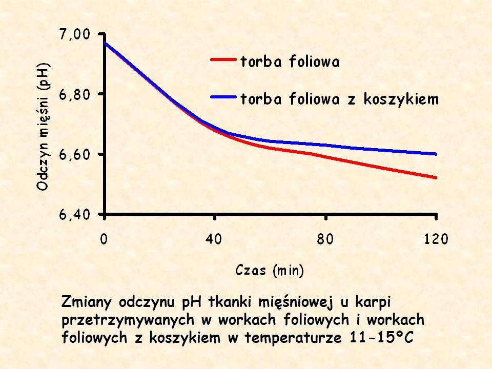 Zmiany odczynu pH tkanki mięśniowej u karpi przetrzymywanych w workach foliowych i workach foliowych z koszykiem w temperaturze 11-15ºC