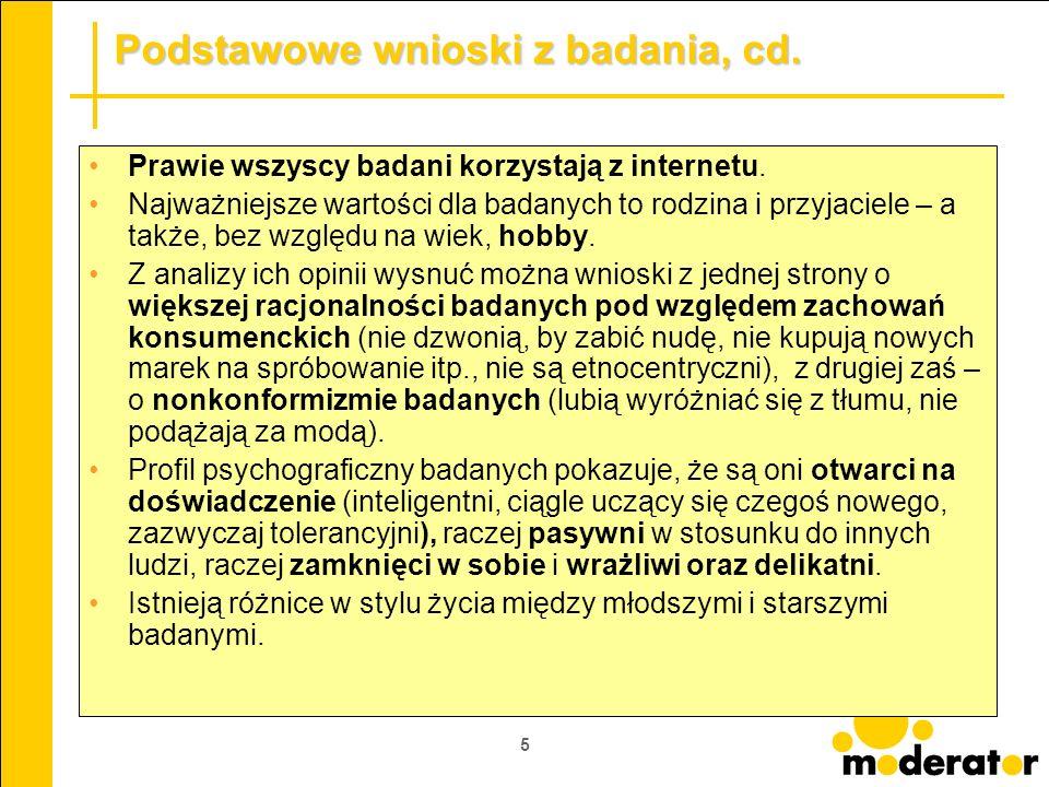 Podstawowe wnioski z badania, cd.