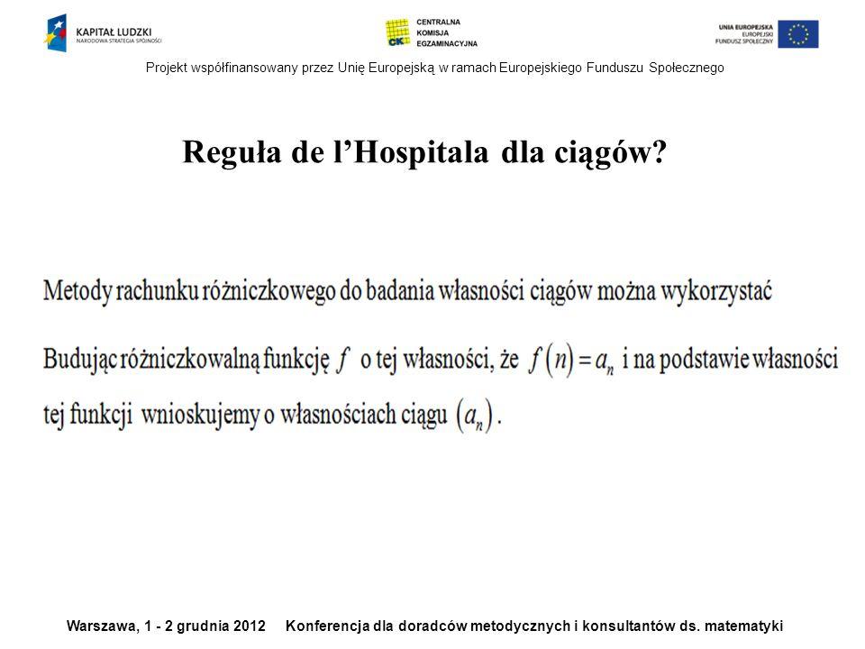 Reguła de l'Hospitala dla ciągów