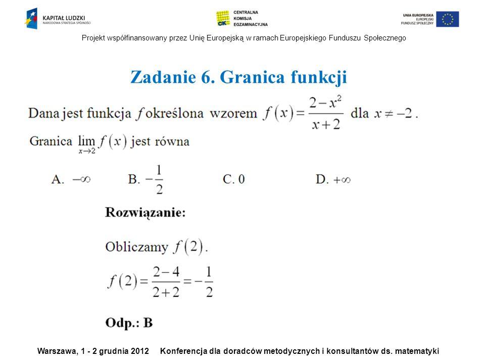 Zadanie 6. Granica funkcji