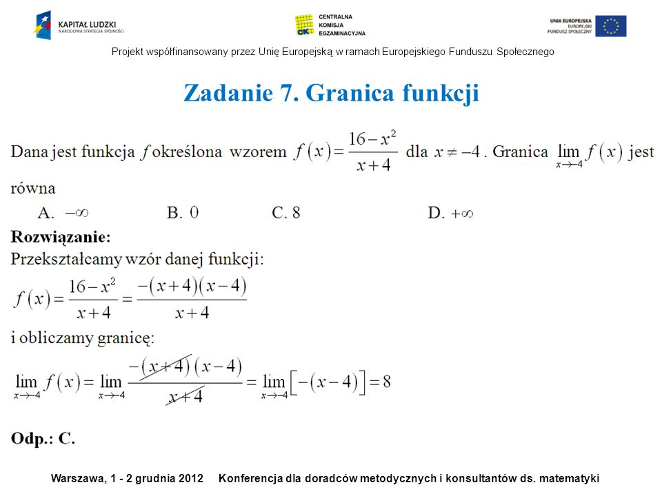 Zadanie 7. Granica funkcji