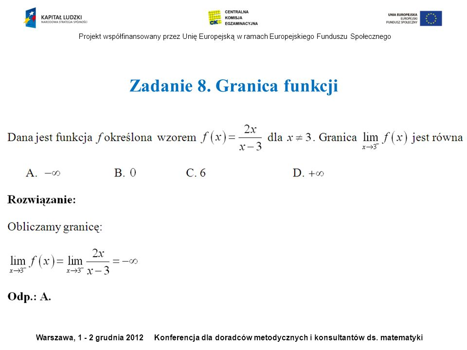 Zadanie 8. Granica funkcji