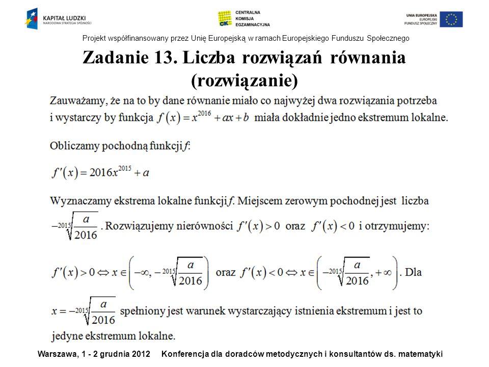 Zadanie 13. Liczba rozwiązań równania (rozwiązanie)
