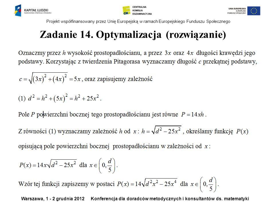 Zadanie 14. Optymalizacja (rozwiązanie)