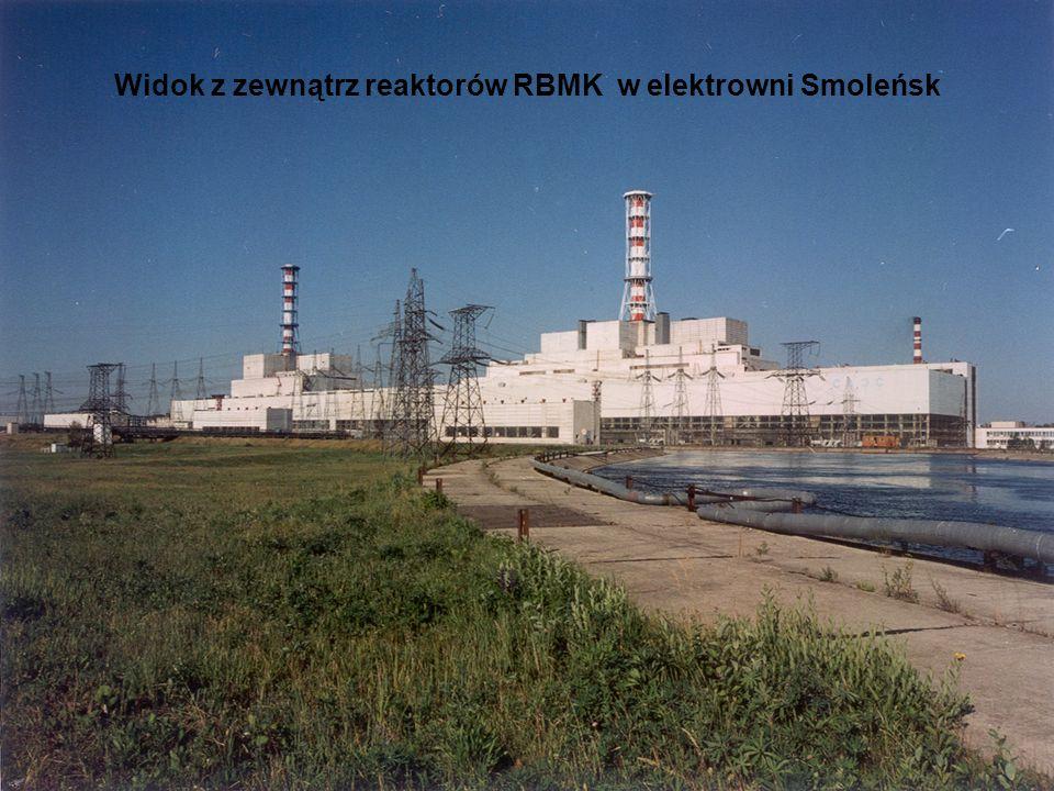Widok z zewnątrz reaktorów RBMK w elektrowni Smoleńsk