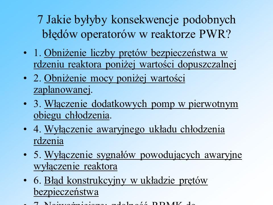 7 Jakie byłyby konsekwencje podobnych błędów operatorów w reaktorze PWR