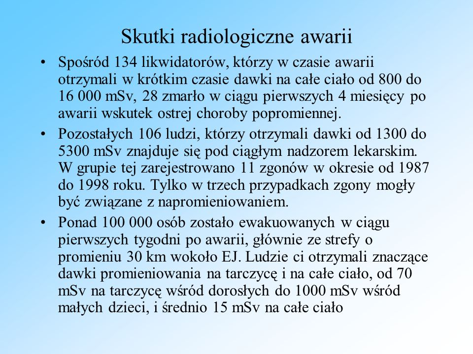 Skutki radiologiczne awarii