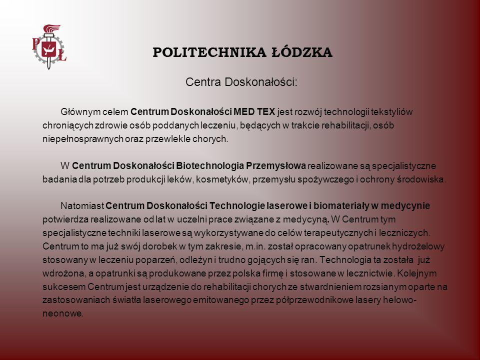 POLITECHNIKA ŁÓDZKA Centra Doskonałości: