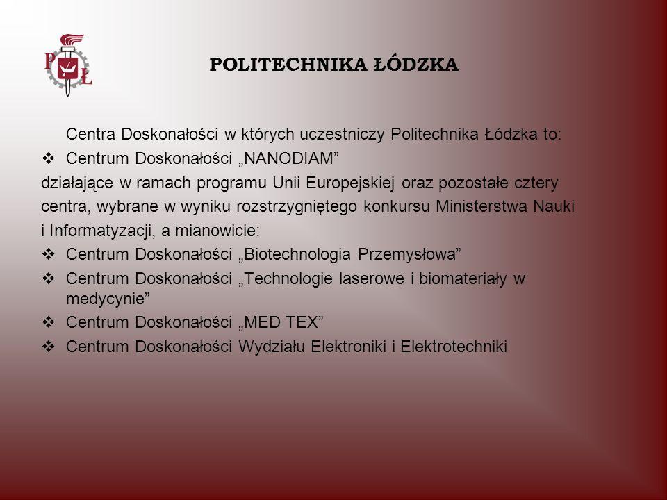 """POLITECHNIKA ŁÓDZKA Centra Doskonałości w których uczestniczy Politechnika Łódzka to: Centrum Doskonałości """"NANODIAM"""