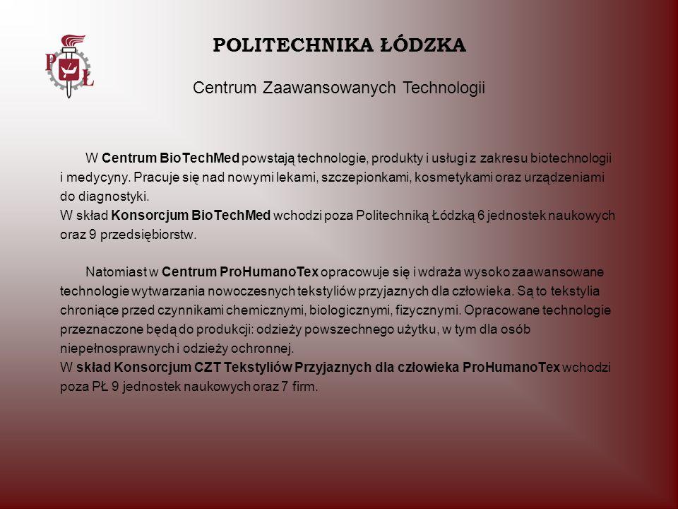 POLITECHNIKA ŁÓDZKA Centrum Zaawansowanych Technologii