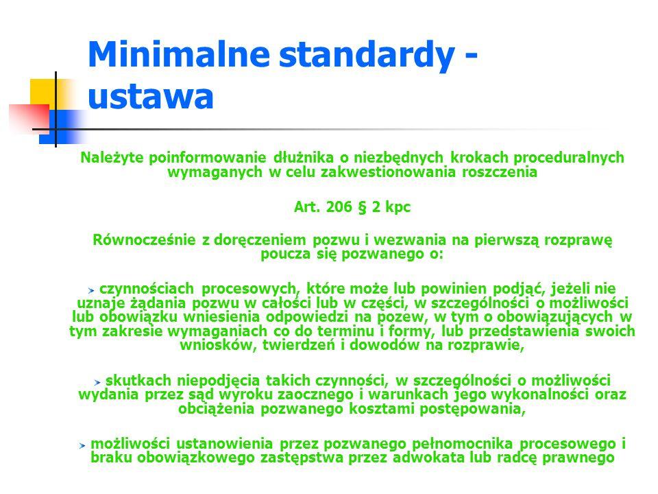 Minimalne standardy - ustawa