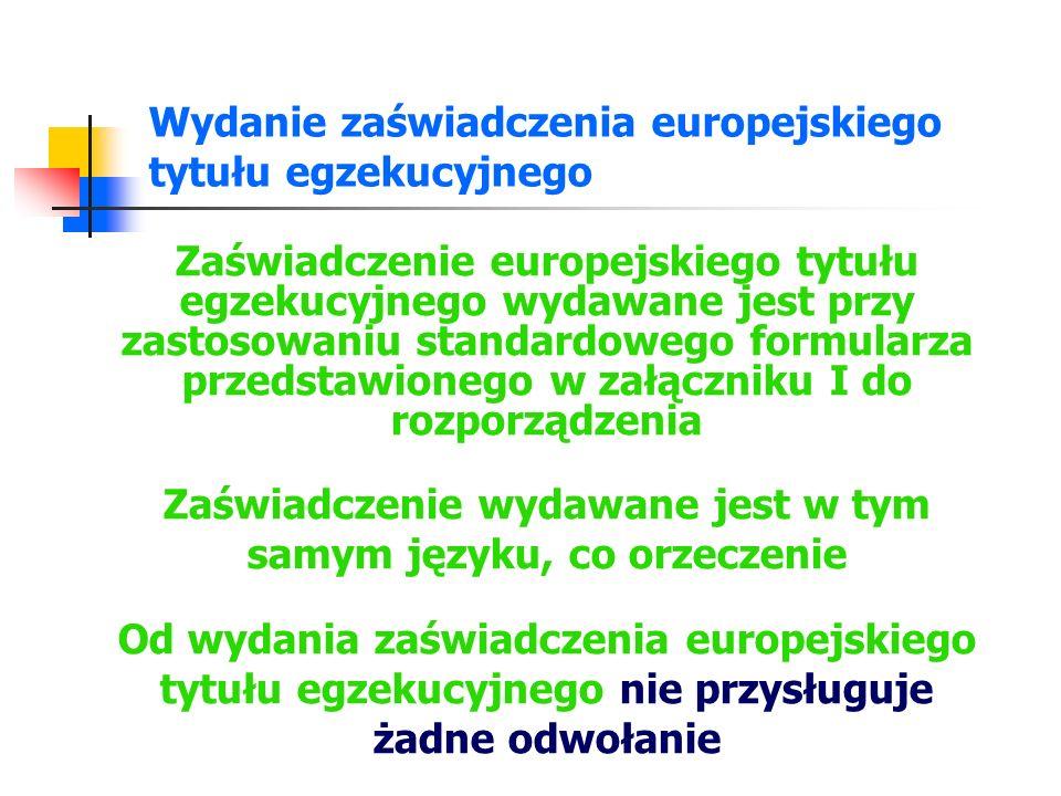 Wydanie zaświadczenia europejskiego tytułu egzekucyjnego
