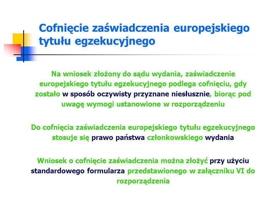 Cofnięcie zaświadczenia europejskiego tytułu egzekucyjnego