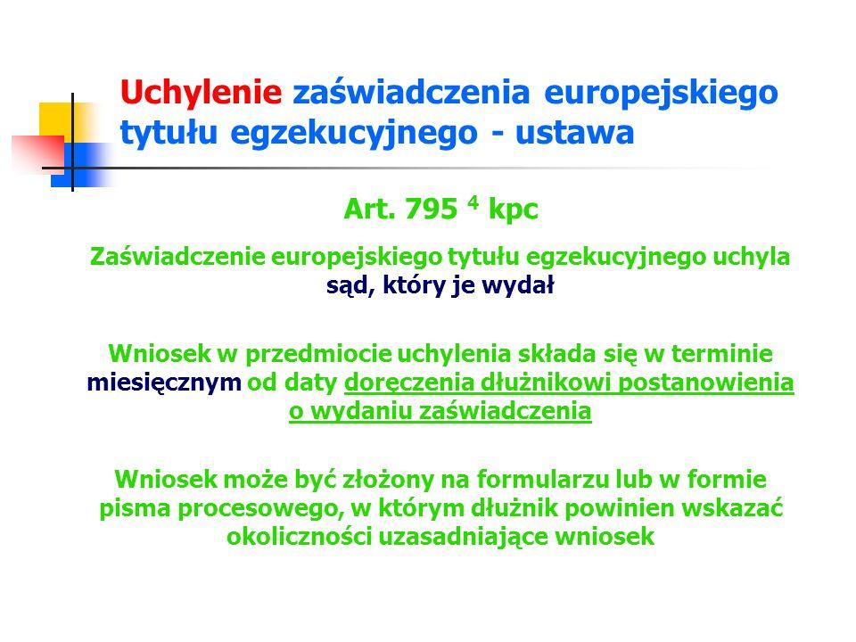 Uchylenie zaświadczenia europejskiego tytułu egzekucyjnego - ustawa