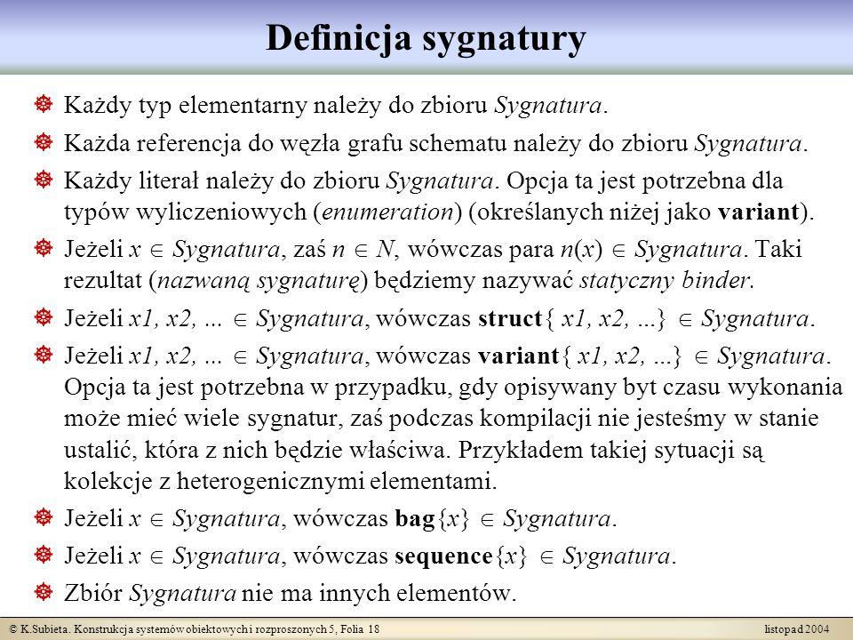 Definicja sygnatury Każdy typ elementarny należy do zbioru Sygnatura.